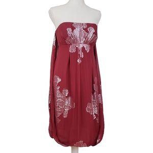 Nicole Miller Silk Chiffon Draped Babydoll Dress